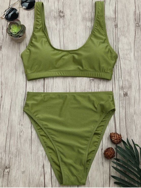 15467ba289d Shiny bathing suit featuring reinforced underbust band pullover style bralette  bikini top and high rise high cut swim bottoms