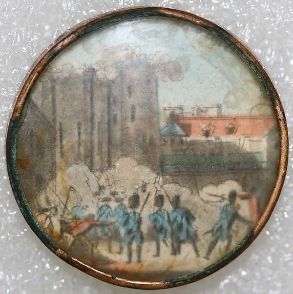 ca 1780 French Revolution theme image (it appears to be the battle of storming the Bastille) printed on paper, under glass and set in metal. France