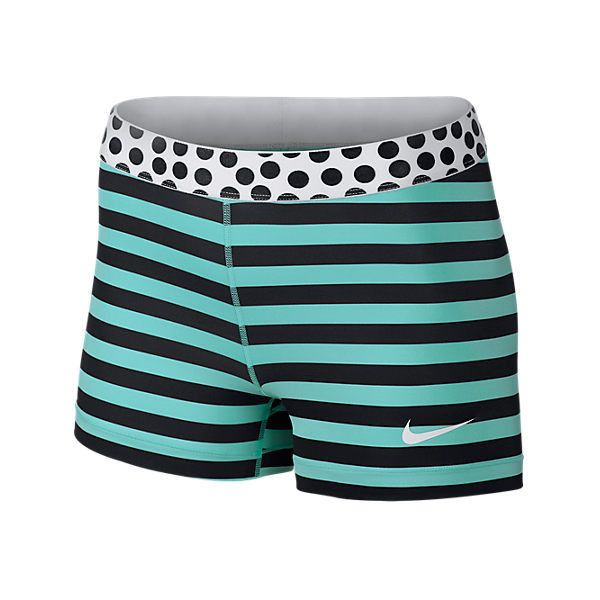 Nike Women's Pro Stripes and Dots 3 Inch Shorts (450 HNL) ❤ liked on Polyvore featuring activewear, activewear shorts, shorts, workout, blue, nike, nike activewear and nike sportswear