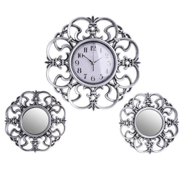 Комплект стенен часовник с 2 огледала / #декорация #задома