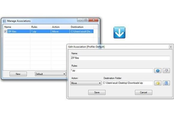 DropIt is a free, open-source utility that processes collections of files according to rules you define. For example, you can set it loose at your Downloads folder, and telling it to sort all of the JPG and PNG files into an images subfolder. It would then take all the ZIP files and put them in another folder, and delete all of the TMP files. In other words, you just configure a bunch of rules, and DropIt does the rest.