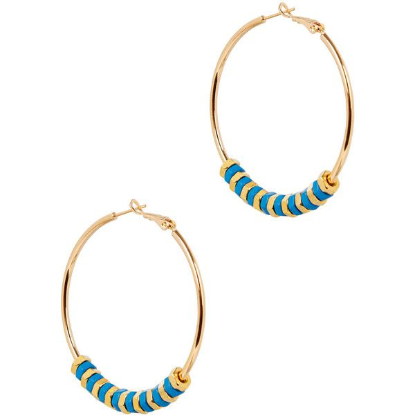 Alice Menter Georgia Gold-plated Hoop Earrings ($125) ❤ liked on Polyvore featuring jewelry, earrings, hexagon hoop earrings, stackers jewelry, hoop earrings, hexagon earrings and blue jewelry