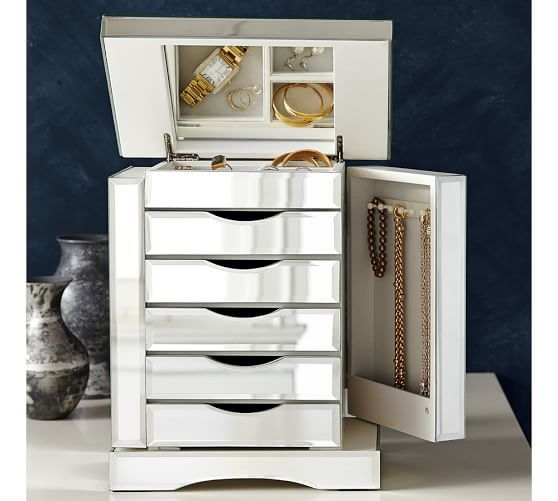 10.5w x 7d x 12.75h - Ultimate Mirrored Jewelry Box | Pottery Barn