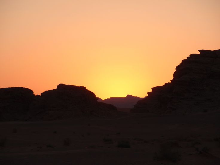 Puesta de sol en el desierto de Wadi Rum (Jordania)