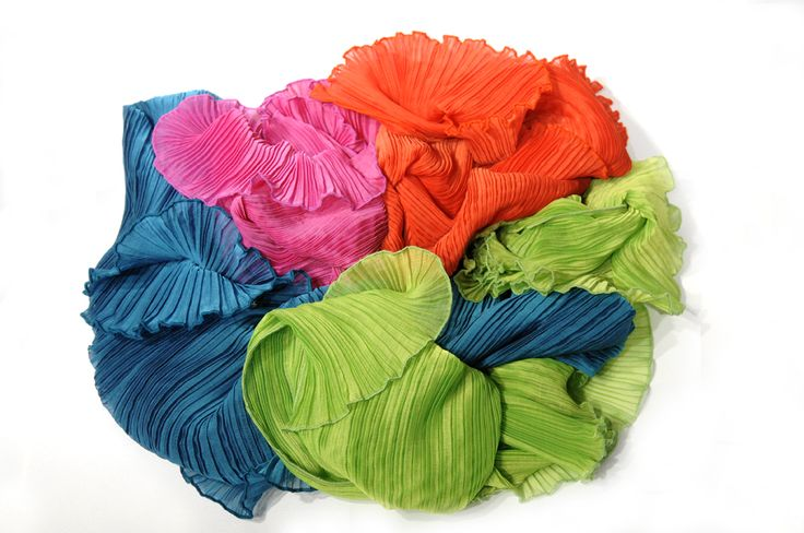 Pleated, colourful Daphne Valente scarves