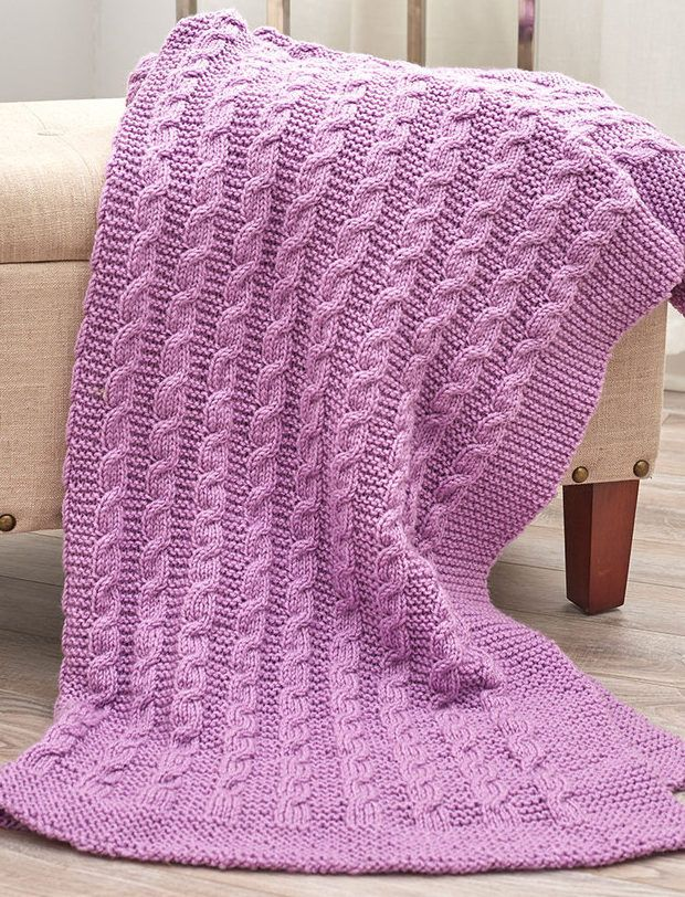 Free Knitting Pattern for Easy Exquisite Cabled Throw - This easy cabled afghan is just garter stitch and stockinette with cables every 8th row. Designed by Linda S. Smith for Red Heart.