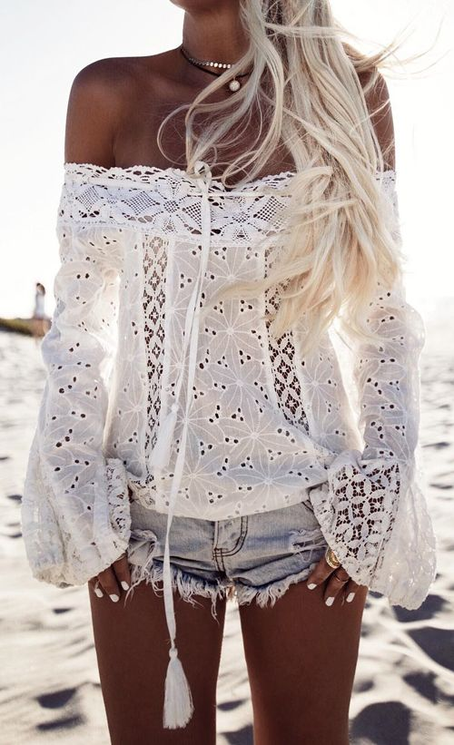 Boho white lace Summer bardot top