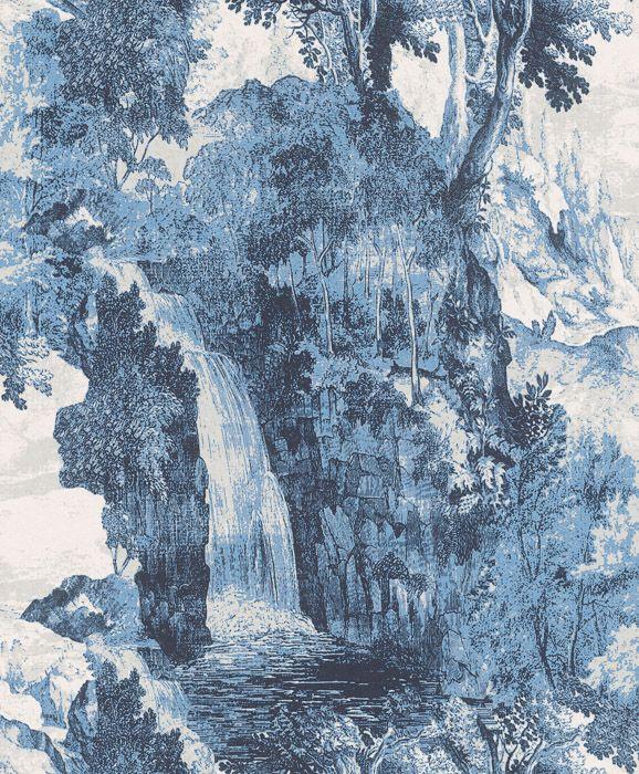 синие обои с водопадами