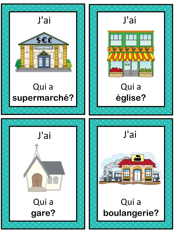 French version of the I have ... Who has ...? game. This French game can be played to practice French town words. The game has 39 cards with a colorful frame and 39 cards with a simple black frame to save you ink. There are 4 cards per page.