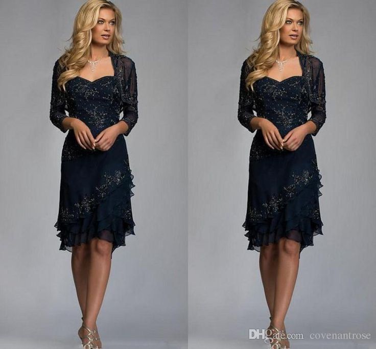 Navy Blue Knee Length Mother Of The Bride Dresses With Jacket Lace Applique Beaded Cheap Women Evening Gowns Plus Size Weeding Guest Dress Cachet Mother Of The Bride Dresses Groom Mothers Dresses From Covenantrose, $135.68| Dhgate.Com