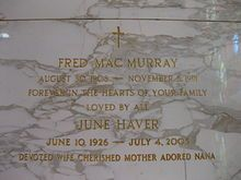 MacMurray and wife June Haver's grave at Holy Cross Cemetery, Culver City, California
