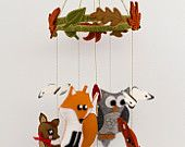 Woodland creatures baby mobile made from 100% pure wool felt. With butterflies, toadstools and autumn leaves. Nursery, baby shower, christening. $89.00