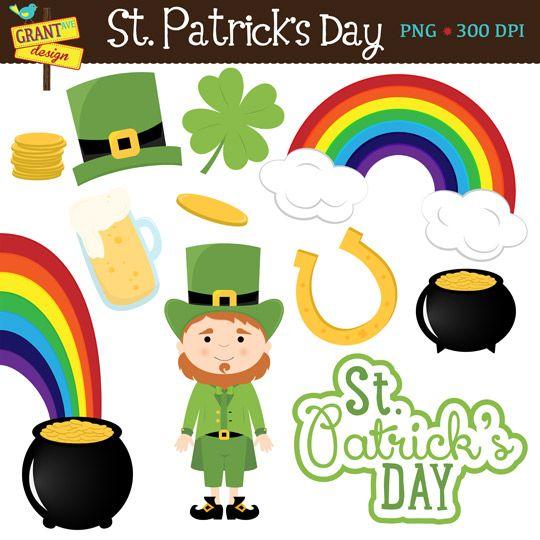 St. Patrick's Day Clip Art Rainbow Clip art : Shamrock Clipart : Leprechaun Clip Art