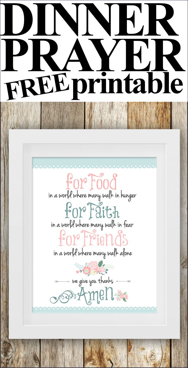 FREE Dinner Prayer Printable