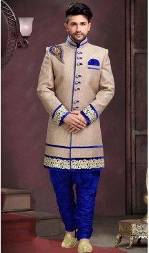 Dove Color Men Ethnic Wear Indo Western Style Sherwani | FH443869975 #sherwani, #wedding, #mens, #fashion, #boutique, #indowestern, #kurta, #pajama, #turban, #safa, #heenastyle, #man, @heenastyle , #indian, #clothing, #style, #henna, #ethnic, #wear, #royal, #readymade