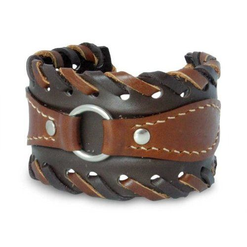 This handmade creation is offered in partnership with NOVICA, in association with National Geographic. This 'western' leather cuff has been made of two-tone brown leather. This jewelry piece features