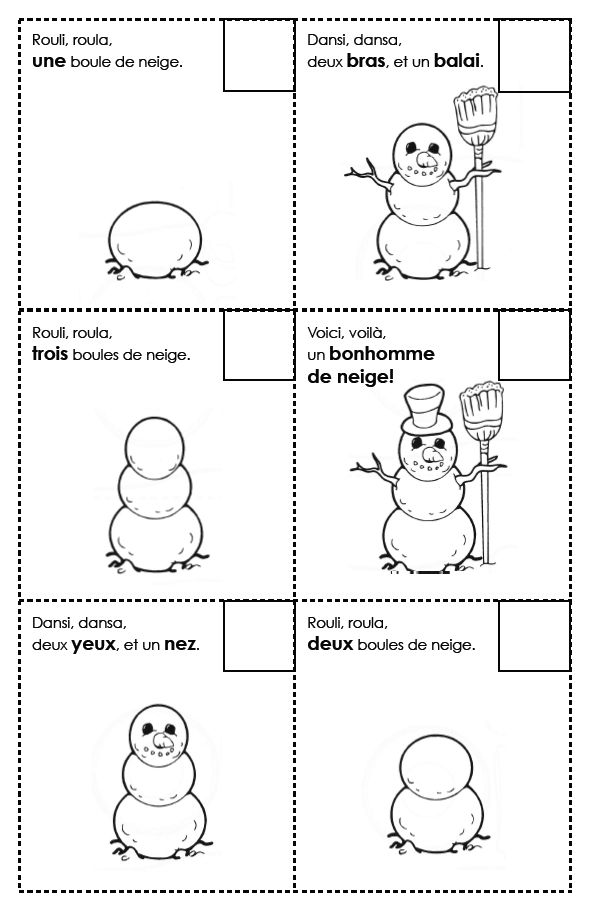 Madame Belle Feuille - french poem (booklet) to read, order, sing, assemble, winter, l'hiver, k, gr, 1