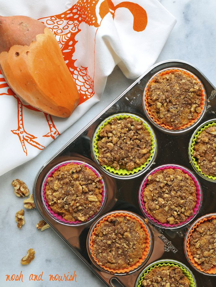 Sweet Potato Muffins with Walnut Streusel from the new cookbook Superfoods at Every Meal! // via Nosh and Nourish
