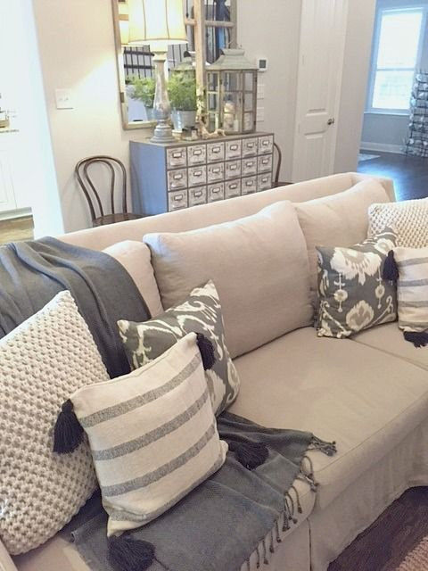 Woven pillows from @tuesdaymorning keep our neutral color scheme from being anything but boring!  At $14.99, these large pillows were a steal!