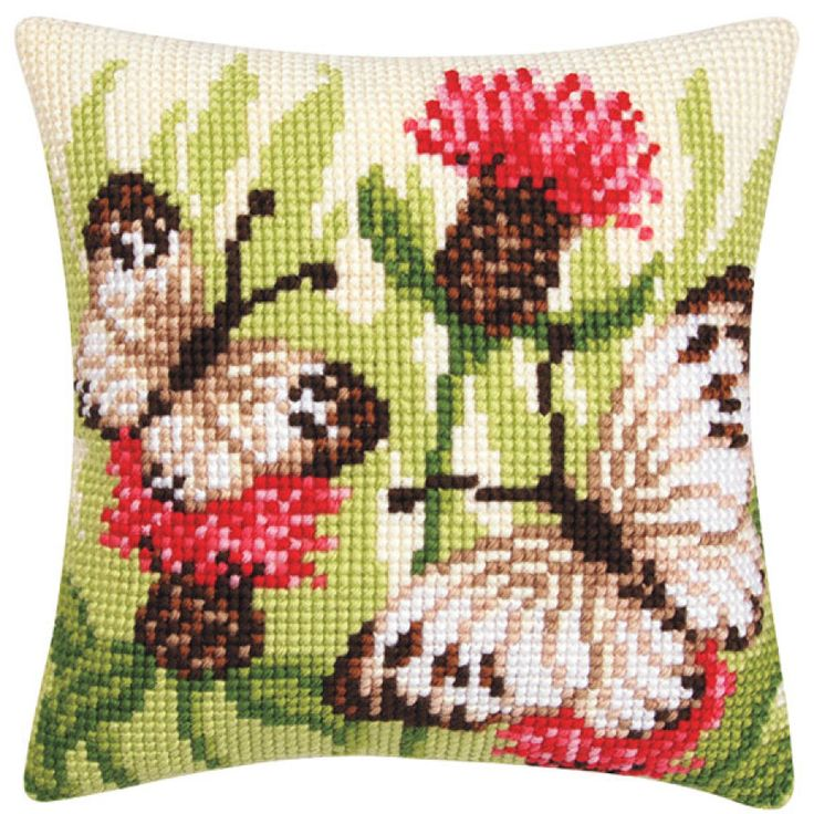Garden Visitors Pillow Top - Cross Stitch, Needlepoint, Stitchery, and Embroidery Kits, Projects, and Needlecraft Tools | Stitchery