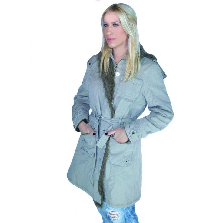 MILLS Γυναικείο μπουφάν παρκάς, γούνινη επένδυση