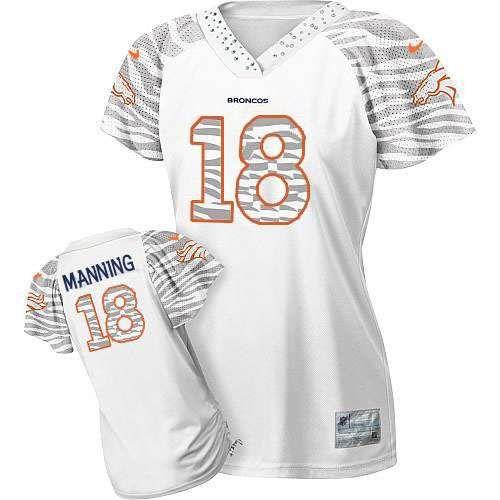 Womens Nike Denver Broncos #18 Peyton Manning Game White 2013 Zebra Field Flirt NFL Jersey