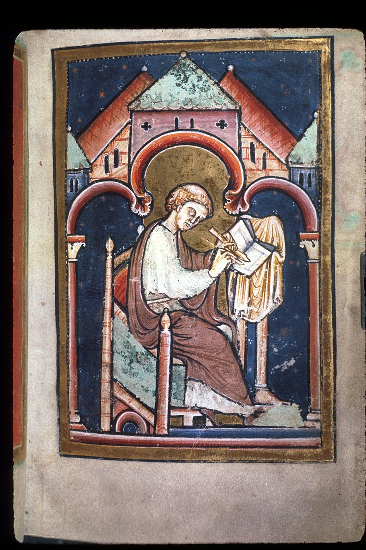Yates Thompson 26, f. 2. Miniature of a scribe writing at