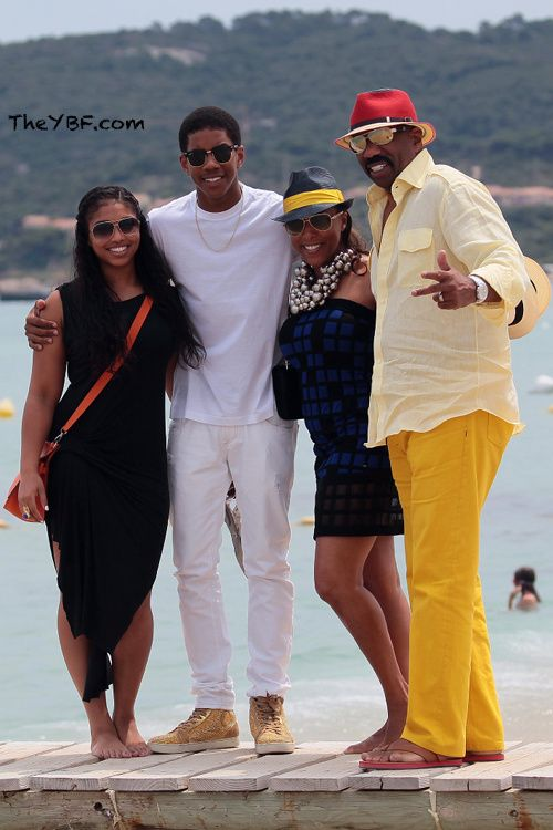 Steve Harvey Young Wife | Comedian Steve Harvey was spotted on the beach with his wife Marjorie ...