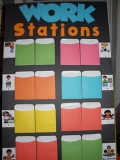 work stations: so cute, you can put their names in their different spots- or even have them be responsible for switching their spots!