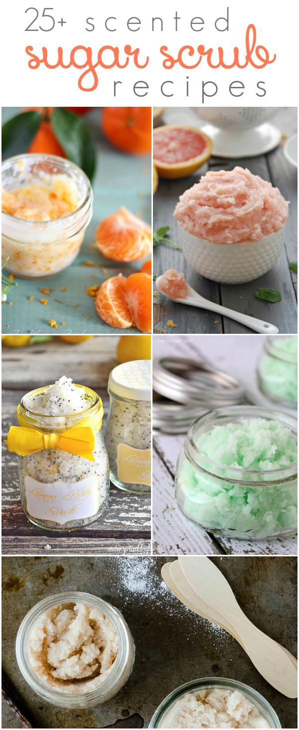 25+ diy SUGAR SCRUB recipes | Lots of different  scents for everyday and holiday uses. Great handmade gift idea!! Easy neighbor gift idea!