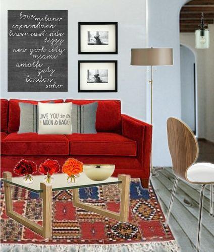 Divano rosso Collage virtuale di Mirella Parer