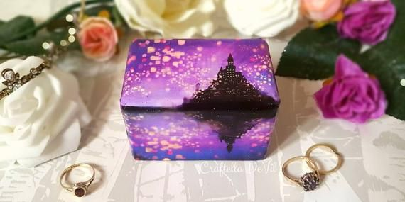 Tangled Wedding Inspired Double Ring Box Rapunzel Wedding Ring Box Purple Tangled Lanterns Wedding Ring Box Luxury Wedding Ring Box Luxury Wedding Rings