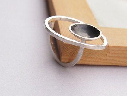 Sterling Zilver grote ring met geoxideerd zilver ring