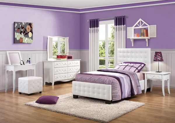 Purple Girls Bedroom featuring White Bedroom Set