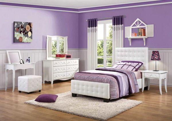 Purple Girls Bedroom featuring White Bedroom Set