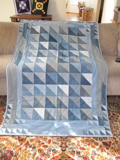 Half Square Triangle Quilt using recycled blue jeans by SusanB from the quiltingboard.com
