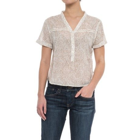 Toad&Co Airbrush Shirt - Organic Cotton, Short Sleeve (For Women) in Egret Galapagos Print