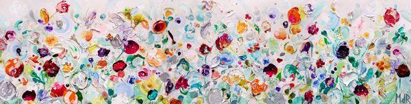 Feest | 200 x 50 cm | acryl & paletstukken | #kunst #haarlem #bloemen