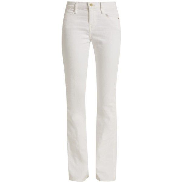 Frame Le High Flare high-rise jeans (765 BRL) ❤ liked on Polyvore featuring jeans, high waisted jeans, high-waisted jeans, white high-waisted jeans, high rise flare jeans and slim jeans