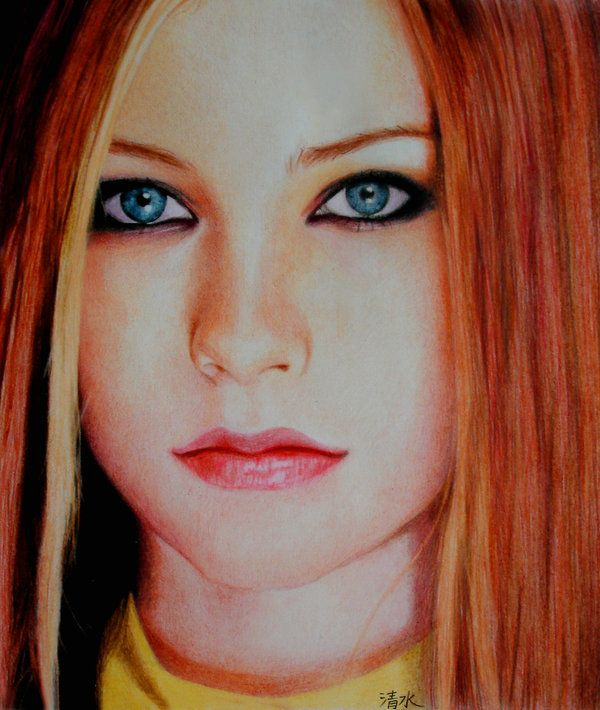 My first coloured portrait size 25 cm coloured pencils time i dont remenber avril lavigne