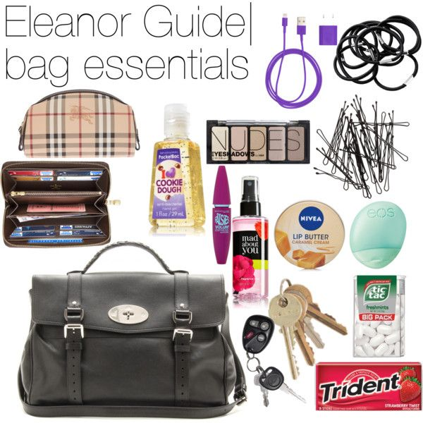Eleanor Calder Guide | Bag Essentials by supralicious on Polyvore featuring Mulberry, H&M, Nivea, Eos, Burberry, PhunkeeTree and Louis Vuitton