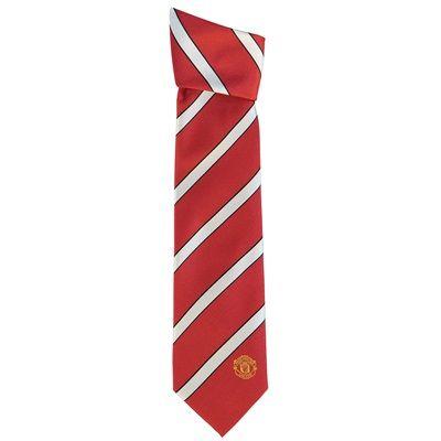 Manchester United Crest Striped Tie - Red-White - Polyester: Manchester United Crest Striped… #ManUtdShop #MUFCShop #ManchesterUnitedShop