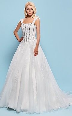Ball Gown Square Court Train Organza Wedding Dress – USD $ 299.99