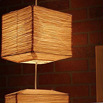 Asian Rice Paper Sectional Ceiling Hanging Pendant Light Fixture with 5 Energy Saver Led Bulbs Included