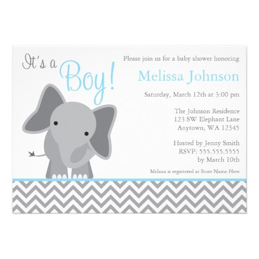 A modern gray and light pastel blue elephant themed baby shower invitation. Perfect for a little boy baby shower.