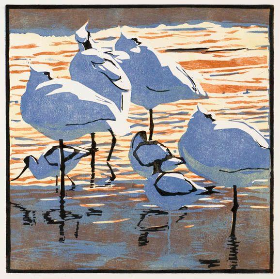 Robert Greenhalf (1950-): Spoonbills & Avocets, woodcut