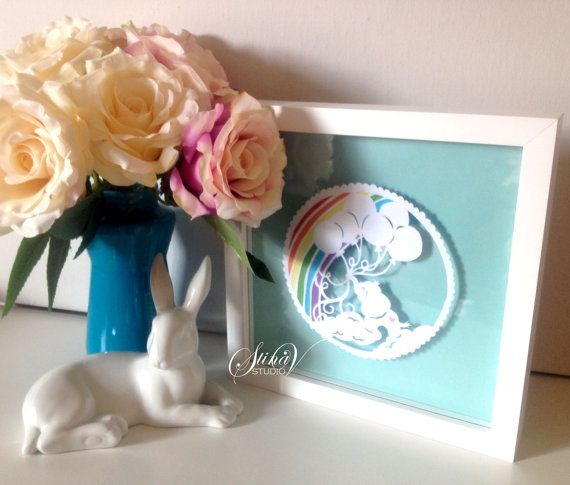 Little Baby Elephant with Balloons and Rainbow by StinaVStudio. Perfect for baby nurseries, baby showers, or as a gift.