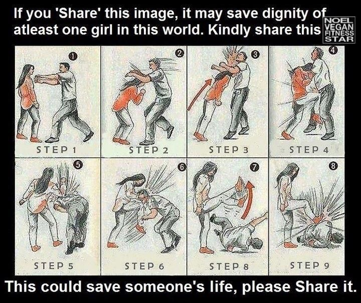 Please remember SING if approached from behind!!! Solar plexus (elbow stomach area), instep (stomp their foot), nose (punch it, then turn around), groin (kick or knee in the crotch). SING IS FROM BEHIND, PICTURED ABOVE IS IF APPROACHED FROM THE FRONT. please be safe and know defense :)