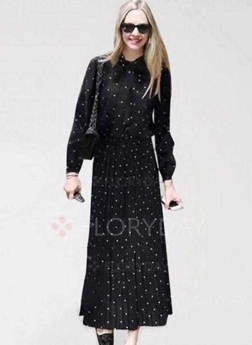 Платья - $42.31 - Элегантное платье из лена длины макси в горошек с длинными рукавами (1955123896)