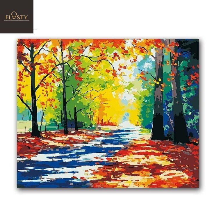 Nice Painting By Numbers A Road With Autumn Leaves Autumn Leaves Numbers Painting Road Coffee Art Painting Painting Canvas Art Painting Acrylic